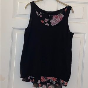 TORRID tank top w/ a sheer at neck & hemline